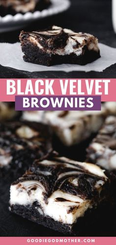 Extra dark brownies look stunning with a creamy white swirl of cheesecake baked right into the top. You'll love this black velvet cheesecake brownies recipe!    #blackvelvet #cheesecakebrownies #brownierecipe #dessertideas Trifle Desserts, Dessert Bars, Fun Desserts, Delicious Desserts, Yummy Food, Chocolate Bar Recipe, Chocolate Flavors, Chocolate Desserts, Best Dessert Recipes