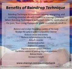 The Raindrop Technique of Massage uses the Raindrop Essential Oils as specified by Young Living Essential Oils Yl Oils, Yl Essential Oils, Therapeutic Grade Essential Oils, Young Living Essential Oils, Reiki, Raindrop Technique, Chakra, Massage Techniques, Alternative Therapies