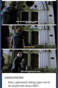 Alec lightwood: telling jace not to do stupid shit since 2007 mortal instruments Mortal Instruments Books, Shadowhunters The Mortal Instruments, Serie Got, Shadowhunters Series, Shadowhunter Academy, Will Herondale, Cassie Clare, Cassandra Clare Books, Alec Lightwood