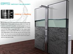The BRS is a shower system that features a transparent tank that divides the shower panel from the washbasin and toilet cistern, back to back.