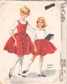 McCalls 5525 1960s  Helen Lee Girls Dress and Jumper Pattern Childs Vintage Sewing Pattern by mbchills
