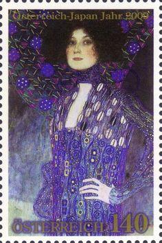 """Postzegel: Japan Year - """"Emilie Flöge"""" by Gustav Klimt (1902) (Oostenrijk) (Clothes) Mi:AT 2835,Yt:AT 2663,WAD:AT052.09"""