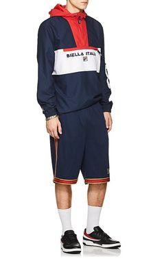 Fila Metallic-Striped Logo Mesh Shorts - XL Red Fila Outfit dc82a296e29