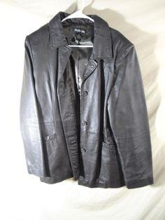 Style & Co Women's Genuine Leather Button-up Jacket Hip Coat DARK BROWN-XL    #Styleco #BasicJacket