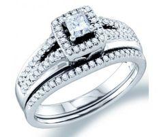 Diamond Engagement Ring Bridal Set Wedding Band 14k White Gold (1/2ct) #Diamond #wedding #Bridal #Ring #fashion #Jewelry #White