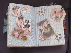2nd spread in Ladies Diary theme altered book