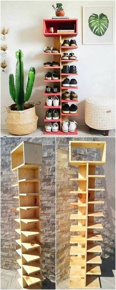 Reshaping Ideas for Recycled Old Wooden Pallets - DIY Pallet Creations Wood Shoe Rack, Diy Shoe Rack, Shoe Storage, Pallet Shoe Racks, Pallet Furniture Shoe Rack, Storage Ideas, Furniture Making, Garden Furniture, Diy Furniture