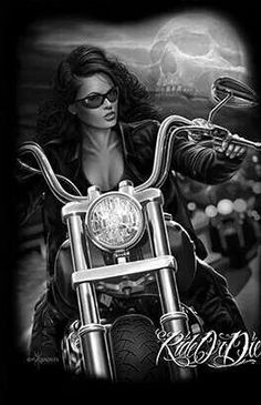 Ride or Die Motorcycle Art, Bike Art, Biker Chick, Biker Girl, Transférer Des Photos, Aztecas Art, David Mann Art, Digital Foto, Cholo Art
