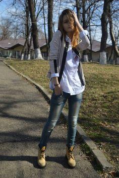 #white #shirt #weird #boots
