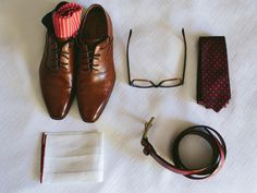 Groom's wedding day accessories. Be cute to have a similar one with bride's - then frame them side by side.