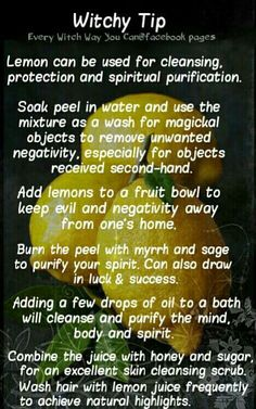 Witchy Tip lemon  ✯ Visit lifespiritssocietyofmagick.com for love spells, wealth spells, healing spells, and LOA info.