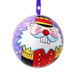 Nutcracker-Soldier-Hand-Painted-Paper-Mache-Christmas-Ball-Ornament