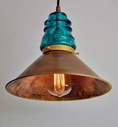 Vintage glass insulator pendant lamp with brass shade ....