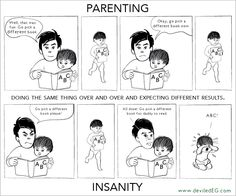 Parenting is doing the same thing over and over and expecting different results. Oddly enough, that's the definition of insanity. Coincidence? I think not! — deviled EG