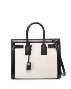 V28H8 Saint Laurent Sac De Jour Small Carryall, White/Black