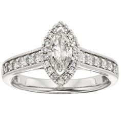 Sofia 14k Gold 1ct TDW Marquise Diamond Halo Engagement Ring