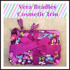 """Vera Bradley Cosmetic Trio in Flutterby NWT!  In varying sizes, quilted on the outside and lined with wipeable taffeta, the travellover on your list will love these; Dimensions S - 5"""" x 4""""; M - 7"""" x 5""""; L - 9"""" x 6 ½""""; Machine Wash; SFH. Vera Bradley Bags Cosmetic Bags & Cases"""