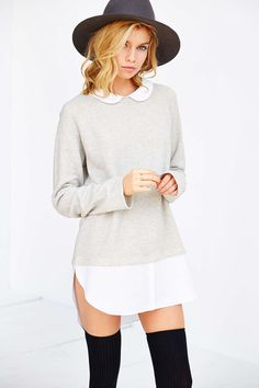 Cooperative Layered Collared Tunic Top - Urban Outfitters