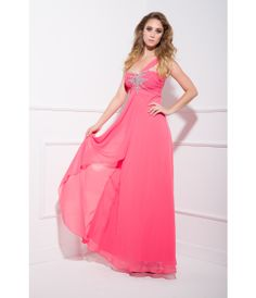 2013 Prom Dresses - Watermelon Chiffon & Beaded One Shoulder Prom Dress - Unique Vintage - Prom dresses, retro dresses, retro swimsuits.