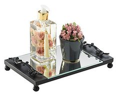 Bandeja Decorativa para Lavabo Veneto Preta - 17X28cm Glamour Decor, Vanity Tray, Perfume, Black Decor, Bathroom Storage, Decoupage, Diy And Crafts, Projects To Try, Soap