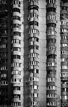 Kiev - I know where this apartment building is (there is an entire complex, actually), and they don't look nearly as creepy as they do in this picture. In real life, they used to be quite unique and elegant.