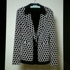 """Anthropologie Delacour polka dot Blazer sz 6 EUC This jacket blazer by Liefnotes was worn once. Perfect for office or play. Summer to fall. Polka dot black white pattern is great. It shapes perfectly. By LeifNotes Button front Polyester, viscose Dry clean 23""""L It's made from a soft fabric. TTS according to reviews. Anthropologie Jackets & Coats Blazers"""
