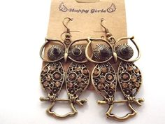 Antique gold & Crystals Owl Earrings Free Shipping $5.99