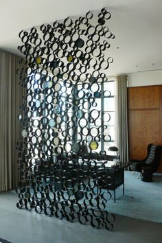 Steel tubing and stained glass partition / divider for private Tribeca apartment / loft space - great interior design idea! Room Partition Designs, Glass Partition, Partition Ideas, Wall Decor, Room Decor, Apartment Interior, Apartment Ideas, Diy Furniture, Modern Furniture