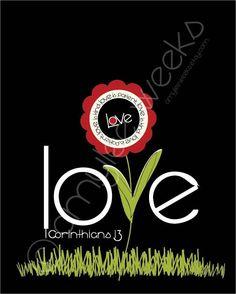 Scripture Art | Scripture Art, Love Is Patient, Love is Kind Flower Bible verse - 8x10 ...