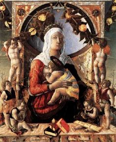 ZOPPO, Marco (b. 1433, Cento, d. 1478, Venezia)   Click! Madonna and Child with Angels  1455 Wood transferred to canvas, 89 x 72 cm Musée du Louvre, Paris  The painting is signed on the cartellino lower left: OPERA DEL ZOPPO DI SQUARCIONE