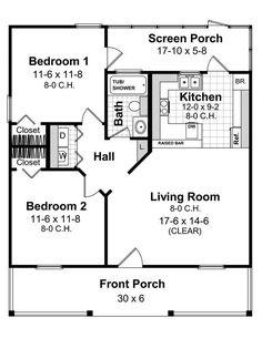 floorplan of 2 bedroom house plan hpg 800b 1 - 2 Bedroom House Plans