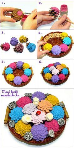 Virágtál tobozokból - Manó kuckó Crochet Necklace, Autumn, Crochet Collar, Fall