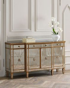 Shop Amelie Mirrored Buffet at Horchow, where you'll find new lower shipping on hundreds of home furnishings and gifts. Dump Furniture, Furniture Sale, Cheap Furniture, Discount Furniture, Furniture Storage, Wine Glass Shelf, Glass Shelves In Bathroom, Mirror Buffet, Mirror Art