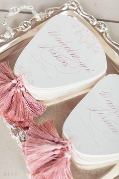Luxury fan shaped wedding programs by Secret Diary. #weddingstationery #program…