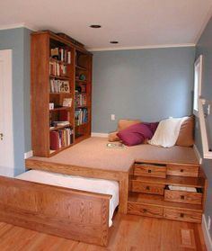 great idea for kids rooms -- hide-away beds for more play room!