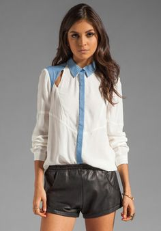Finders Keepers Innocent Hearts Long Sleeve Shirt in White Chambray Finders Keepers