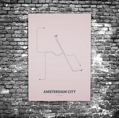 Amsterdam City C8 - Acrylic Glass Art Subway Maps (Metrokaart, Acrylglas)