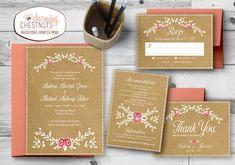 Rustic Wedding Invitation Set, Boho wedding invitation, Kraft Paper wedding invite, Kraft and white , White ink invitation, Floral wedding