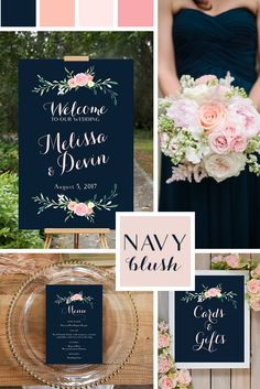 Navy and Blush Pink Wedding Signs, printable. Poster size, 8x10, and 5x7 designs. Beautiful wedding colors, incorporating navy and blush pink, and coral. LindseyBrewerPrints