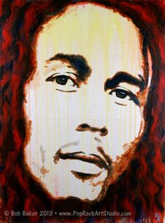 This was my first time painting the reggae trailblazer Bob Marley. I built up a series of washes and drips, then applied wet paint, often with my fingers. I wanted the focus to be on his eyes. Your thoughts? http://www.poprockartstudio.com/2014/02/bob-marley-reggae-painting.html #art #reggae #BobMarley #painting