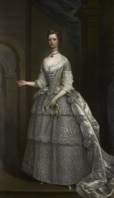 ▴ Artistic Accessories ▴ clothes, jewelry, hats in art - Charles Jervas | Portrait of Lady Frances Montagu, c. 1734