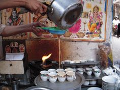 Making Chai tea in Delhi, India.