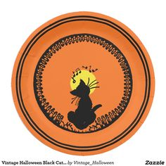 Shop Vintage Halloween Black Cat Paper Plate created by Vintage_Halloween. Halloween Plates, Retro Halloween, Halloween Crafts, Halloween Party, Halloween Face, Halloween Ideas, Paper Plate Design, Halloween Haunted Houses, Button Art