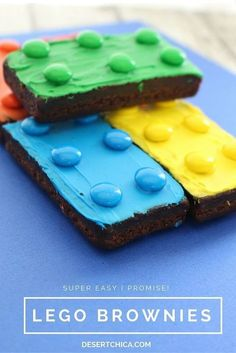 Easy LEGO Brownies Looking for an easy LEGO party idea or even an extra special play date snack? How about easy LEGO brownies?Looking for an easy LEGO party idea or even an extra special play date snack? How about easy LEGO brownies? Cake Lego, Lego Torte, Easy Lego Cake, Brownie Deserts, Lego Birthday Party, Birthday Cakes, Kids Birthday Snacks, Lego Movie Party, Fun Snacks For Kids
