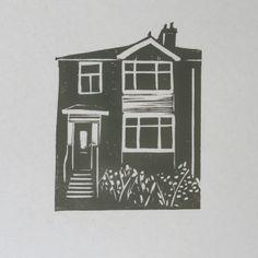 Emma Higgins Lino Prints...YOUR HOUSE CUSTOM ORDER LINO PRINT £40.00