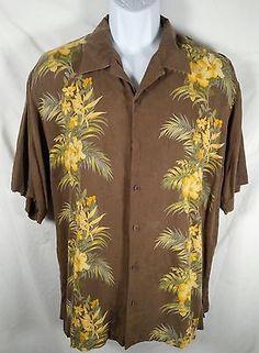 Tommy Bahama Silk Shirt Brown Hawaiian Casual Floral Short Sleeve Shirt Size L #buyme http://bayfeeds.com/ebayitem.php?itemid=331548161434