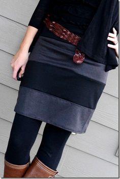 striped knit skirt to sew. Looks easy. Skirt Patterns Sewing, Clothing Patterns, Skirt Sewing, Knitting Patterns, Diy Clothing, Sewing Clothes, Look Fashion, Diy Fashion, Skirt Tutorial