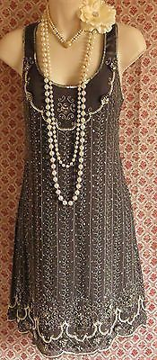 Oasis beaded pearl vintage style 1920's flapper gatsby dress