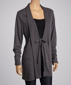 Charcoal Tie-Front Cardigan | zulily