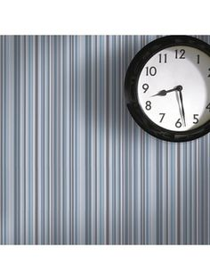 Barcode Linear Blue Wallpaper by Graham and Brown Graham Brown, Striped Wallpaper, Blue Wallpapers, Designer Wallpaper, White Walls, Home Decor Inspiration, Clock, Wall Art, Painting